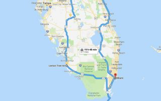 Motorcycle route of map of Florida